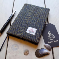 A6 Harris Tweed covered 2019 diary. Blue and mustard herringbone. Week to view