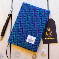 A6 Harris Tweed covered 2019 diary in purple and aqua herringbone. Week to view