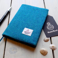 A6 Harris Tweed covered 2019 diary in blue and aqua herringbone. Week to view