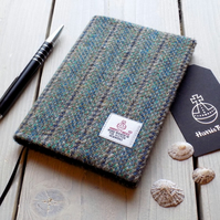 A6 Harris Tweed covered 2019 diary in striped herringbone. Week to view
