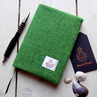 A6 Harris Tweed covered 2019 diary in Bright green. Week to view