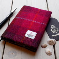 A6 Harris Tweed covered 2019 diary in cerise red tartan. Week to view
