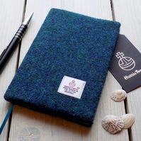 A6 Harris Tweed covered 2019 diary in dark mallard teal. Week to view