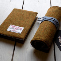 Harris Tweed artist's gift set. A6 sketchbook and pencils roll in mustard.