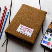 Harris Tweed covered A6 sketchbook in deep mustard with grey lining
