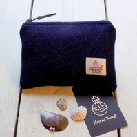 Harris Tweed large coin purse, gadget pouch in navy blue