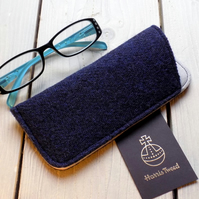 Harris Tweed eyeglasses case in navy blue