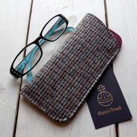 Harris Tweed eyeglasses case in brown, grey and teal check
