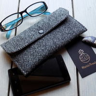 Harris Tweed phone case or glasses case in grey speckle weave