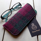 Harris Tweed eyeglasses case in cranberry red and forest green check
