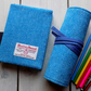 Harris Tweed artist's gift set. A6 sketchbook and pencils roll in turquoise