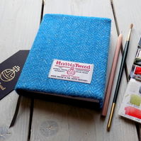 Harris Tweed covered A6 sketchbook in turquoise and blue