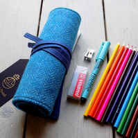 Harris Tweed pencils roll in turquoise and blue. Includes pencils