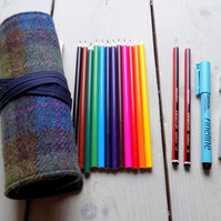 Harris Tweed pencils roll in blue, olive green and brown. Includes pencils