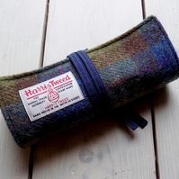 Harris Tweed pencils roll in blue, olive green and brown. Pencils not included