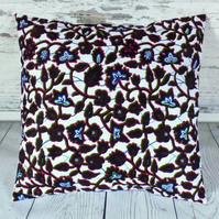 Cushion cover. African wax print, indigo and multicolour on white