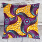 Cushion cover. African wax print, burgundy, purple, turquoise on yellow