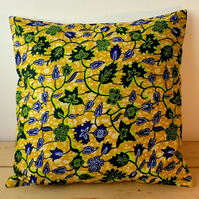 Cushion cover. African wax print, indigo and lime on mustard