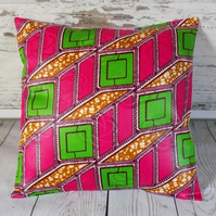 Cushion cover. African wax print, lime, magenta, burgundy and khaki