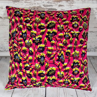 Cushion cover. African wax print, indigo and yellow on magenta pink