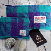 Harris Tweed gift set. Clutch and coin purse in purple and aqua