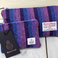 Harris Tweed gift set. Clutch and coin purse in striped herringbone