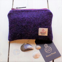 Harris Tweed large coin purse, gadget pouch in deep purple