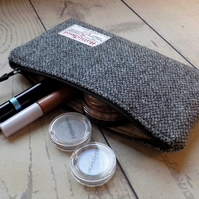 Harris Tweed clutch purse, padded pencil case, make-up bag in grey speckle weave