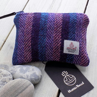 Harris Tweed large coin purse, gadget pouch in striped herringbone