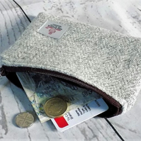 Harris Tweed large coin purse, gadget pouch in grey herringbone