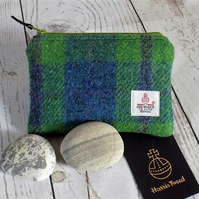 Harris Tweed coin purse. Tartan weave in pea green, blue and violet purple