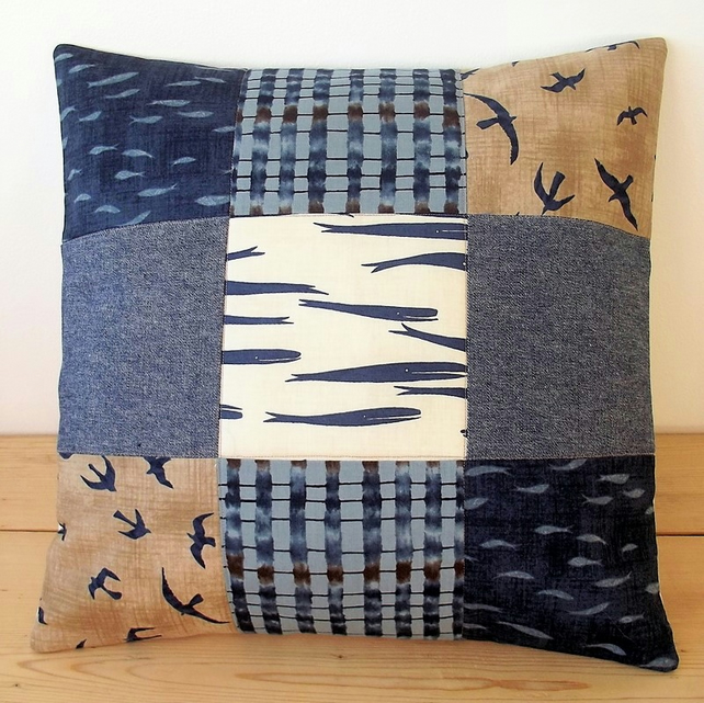Quilted cushion cover with whales, seagulls and fishes