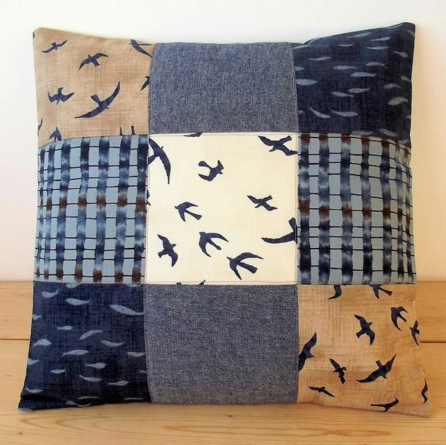 Quilted cushion cover with seagulls and fishes