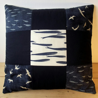 Quilted cushion cover with whales, seagulls and fishes - indigo