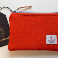 Harris Tweed large coin purse, gadget pouch in deep orange