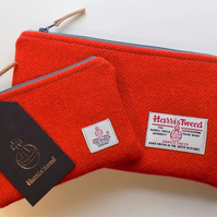 Harris Tweed gift set. Clutch and coin purse in deep orange