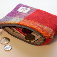 Harris Tweed large coin purse. Multicoloured check weave