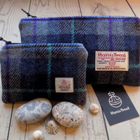 Harris Tweed gift set. Clutch and coin purse in shades of blue tartan