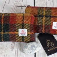 Harris Tweed large coin purse. Tartan weave in dark green, mustard, terracotta