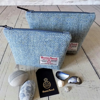 Harris Tweed gift set. Large and medium makeup bags in Atlantic blue herringbone