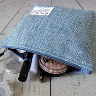 Harris Tweed make-up bag. Large size in Atlantic blue herringbone weave