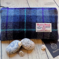 Harris Tweed clutch purse, pencil case in shades of blue check
