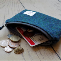 Harris Tweed large coin purse in dark mallard teal