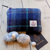 Harris Tweed large coin purse. Tartan weave in shades of blue