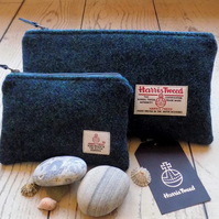 Harris Tweed gift set. Clutch and coin purse in dark mallard teal