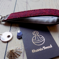 Harris Tweed key fob wrist strap in deep burgundy red