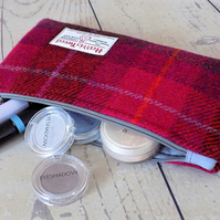Harris Tweed clutch purse, padded pencil case, make-up bag in cerise red tartan