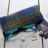 Harris Tweed eyeglasses case in olive green, blue and brown tartan