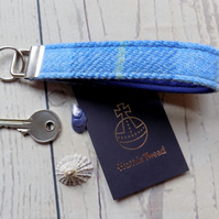 Harris Tweed key fob wrist strap in light blue tartan