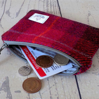Harris Tweed large coin purse.  Tartan weave in deep cerise red and brown